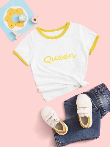 Toddler Girls Letter Graphic Ringer Tee
