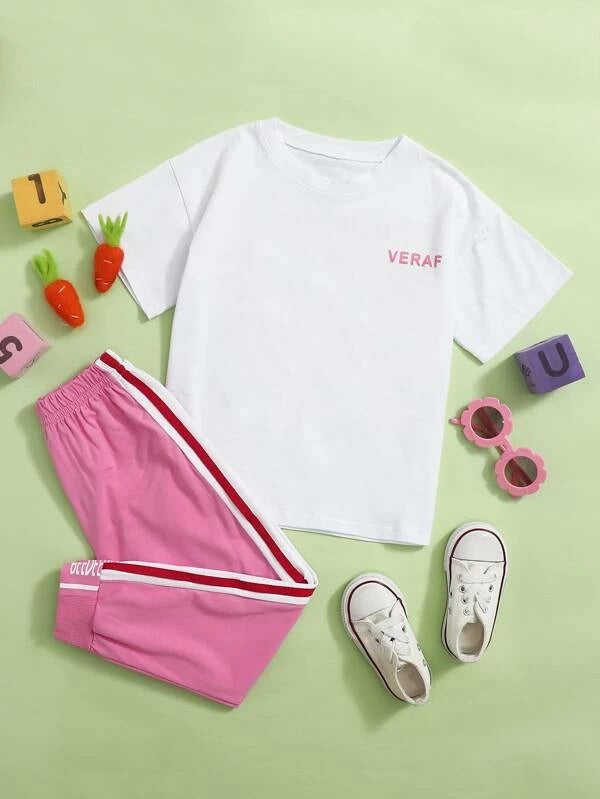 Toddler Girls Letter Graphic Tee & Side Stripe Sweatpants