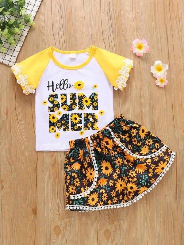 Toddler Girls Letter & Floral Print Tee With Shorts