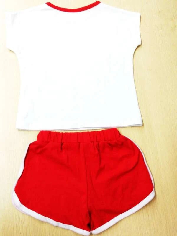 Toddler Girls Letter & Fruit Print Tee With Track Shorts