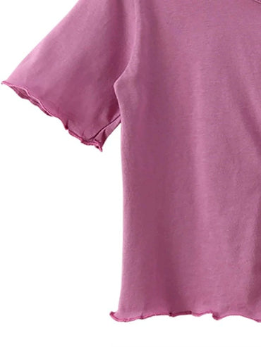 Toddler Girls Lettuce Trim Button Front Tee