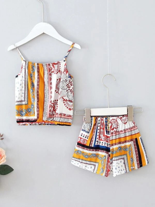 Toddler Girls Paisley And Scarf Print Cami Top & Shorts
