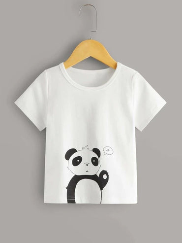 Toddler Girls Panda Print Round Neck Tee