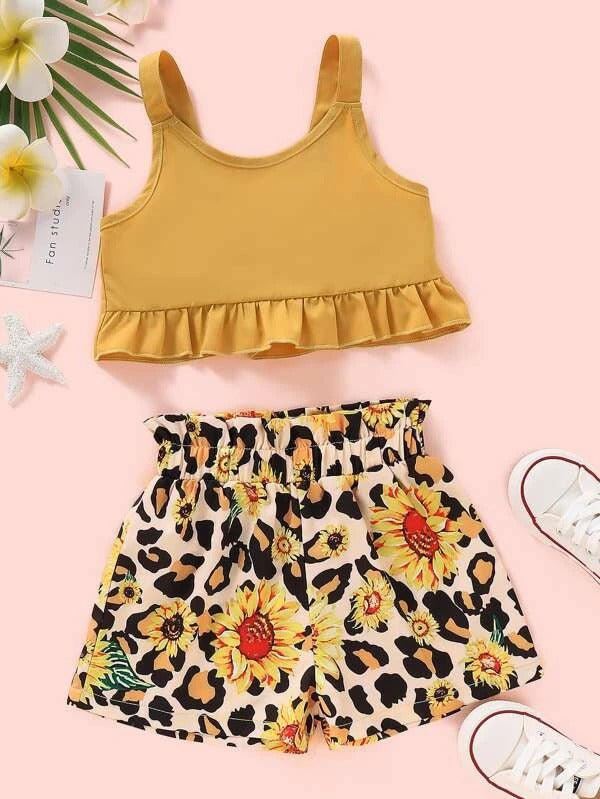 Toddler Girls Peplum Cami Top With Leopard Shorts