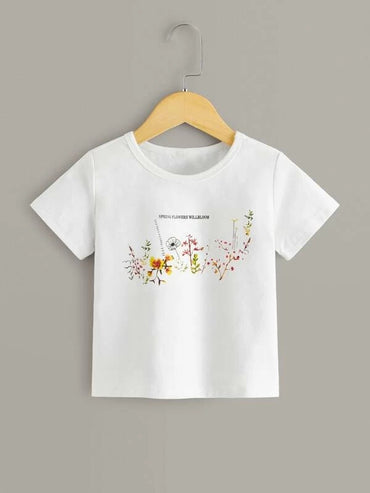 Toddler Girls Plants And Slogan Graphic Tee