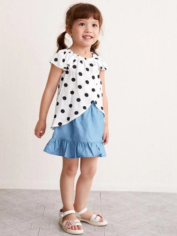 Toddler Girls Polka Dot Blouse & Skirt