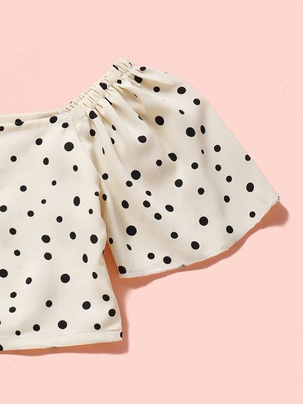 Toddler Girls Polka Dot Crop Top & Layered Skirt