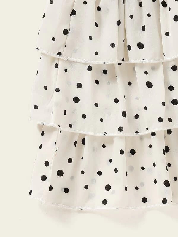 Toddler Girls Polka Dot Peter Pan Collar Tee With Layered Ruffle Skirt