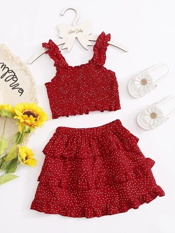 Toddler Girls Polka Dot Shirred Chiffon Cami Top With Ruffle Skirt