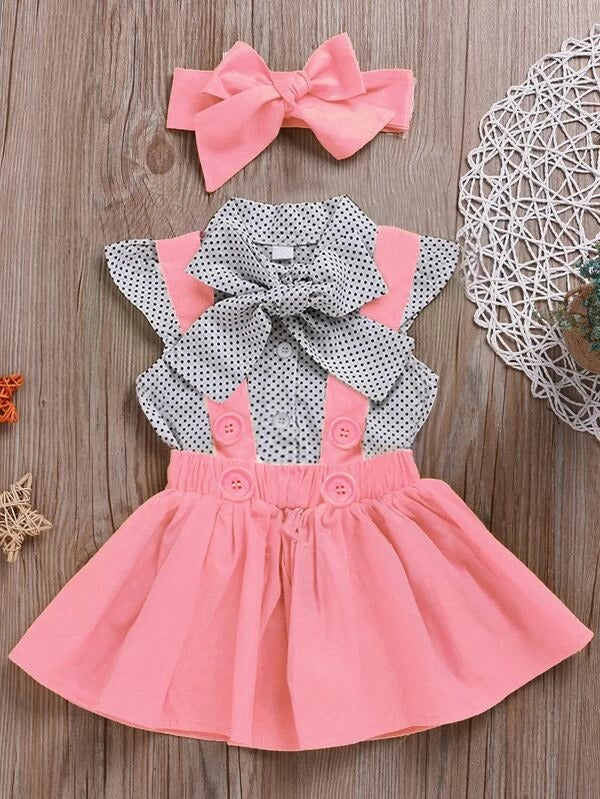 Toddler Girls Polka Dot Tie Neck Blouse & Pinafore Skirt & Headband