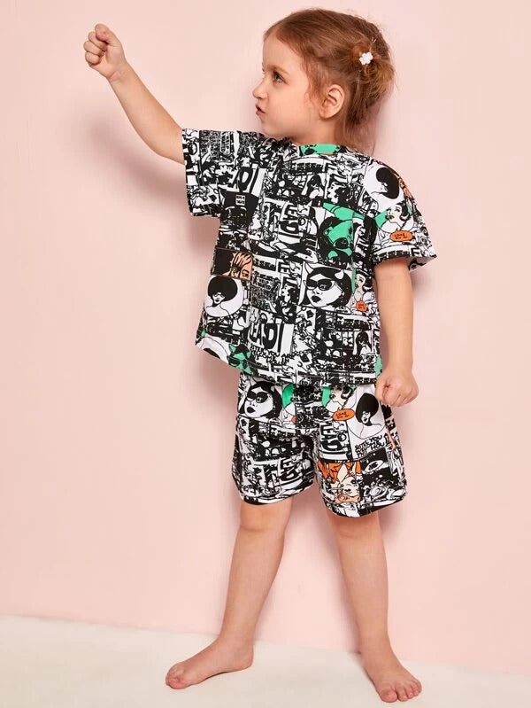 Toddler Girls Pop Art Print Tee With Shorts