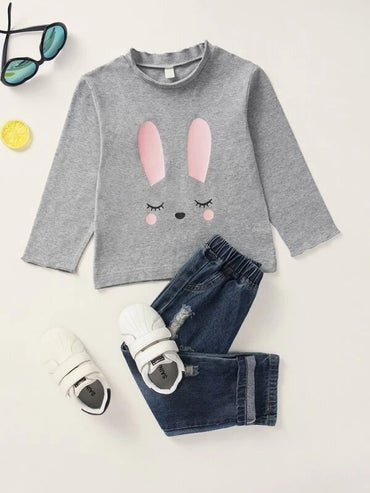 Toddler Girls Rabbit Print Mock Neck Tee