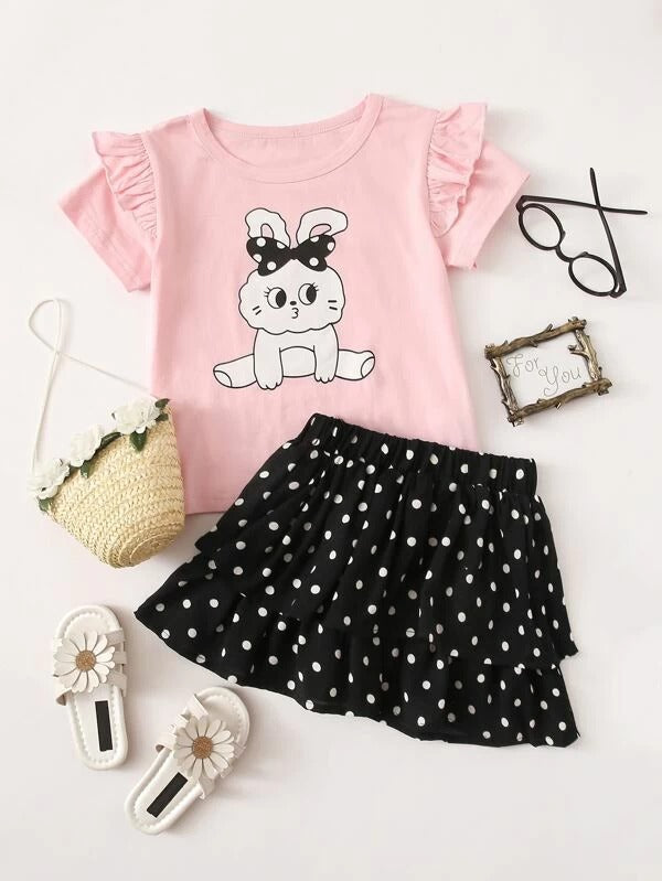 Toddler Girls Rabbit Print Ruffle Tee With Layered Skirt