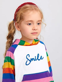 Toddler Girls Rainbow Striped Panel Ruffle Hem Hoodie and Leggings Set