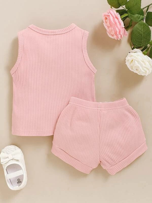 Toddler Girls Ribbed Solid Tank Top & Knotted Shorts