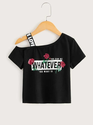 Toddler Girls Rose & Slogan Graphic Asymmetrical Neck Tee
