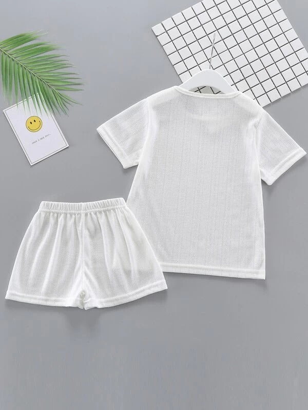 Toddler Girls Round Neck Solid Tee With Shorts Set
