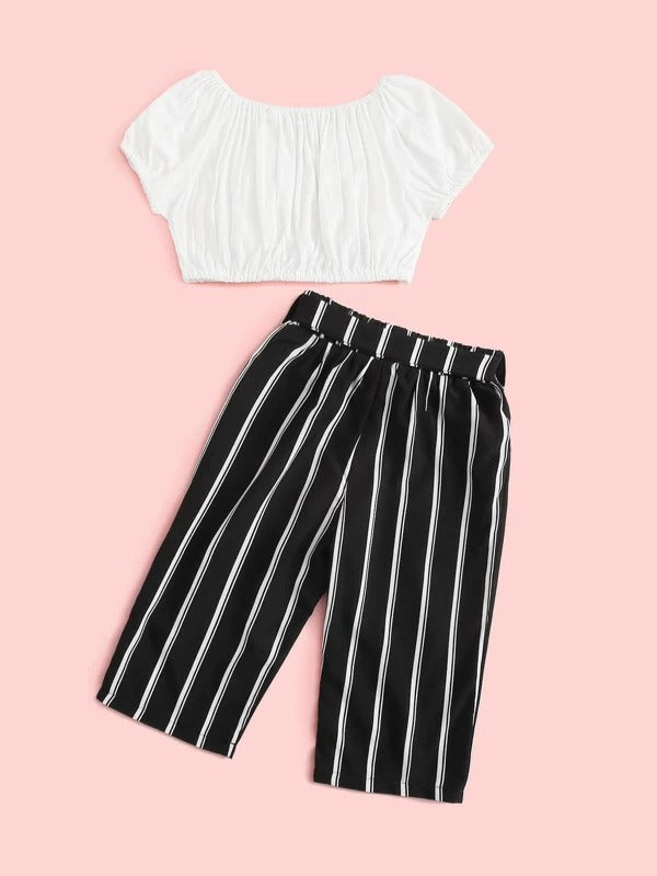 Toddler Girls Ruched Solid Top & Striped Belted Pants