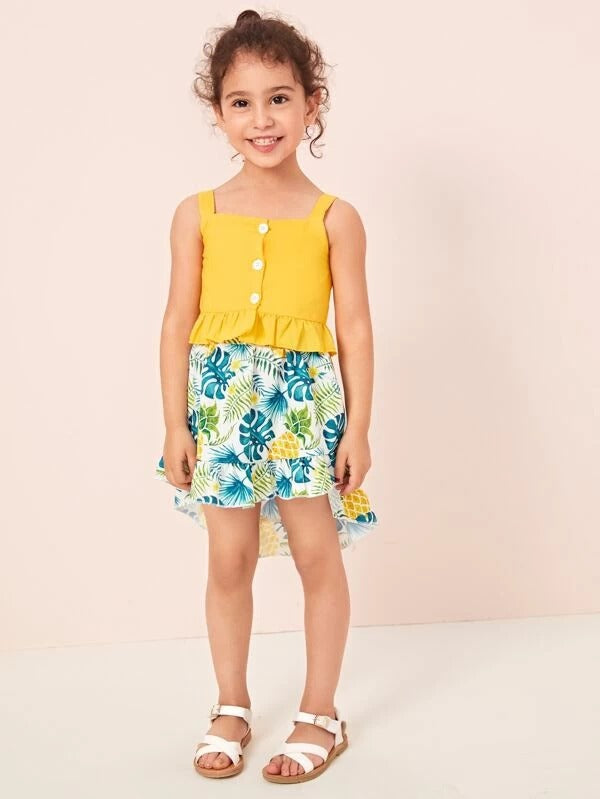Toddler Girls Ruffle Hem Cami Top With Pineapple Print Skirt