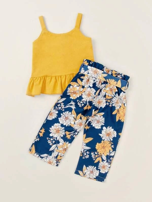 Toddler Girls Ruffle Hem Cami Top & Floral Belted Pants