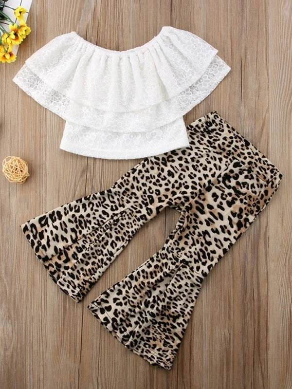 Toddler Girls Ruffle Lace Top & Leopard Pants