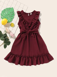 Toddler Girls Ruffle Self Tie A-line Dress