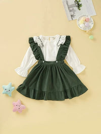 Toddler Girls Ruffle Trim Blouse With Pinafore Skirt