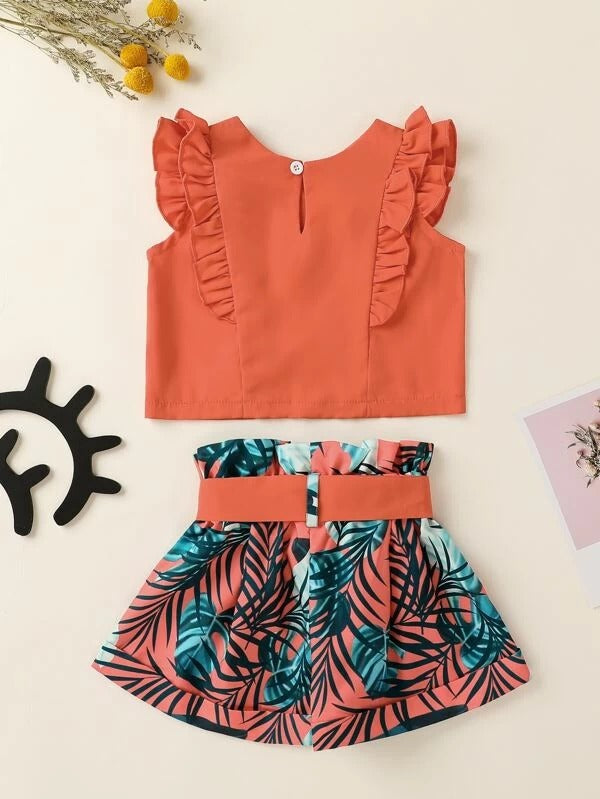 Toddler Girls Ruffle Trim Blouse & Tropical Belted Shorts