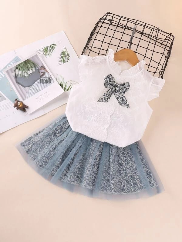 Toddler Girls Scallop Trim Frilled Blouse & Ditsy Floral Tulle Skirt