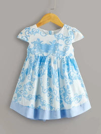 Toddler Girls Scroll Print Contrast Hem A-line Dress