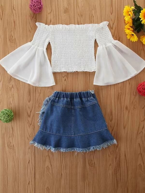 Toddler Girls Shirred Bodice Bardot Top & Wrap Denim Skirt