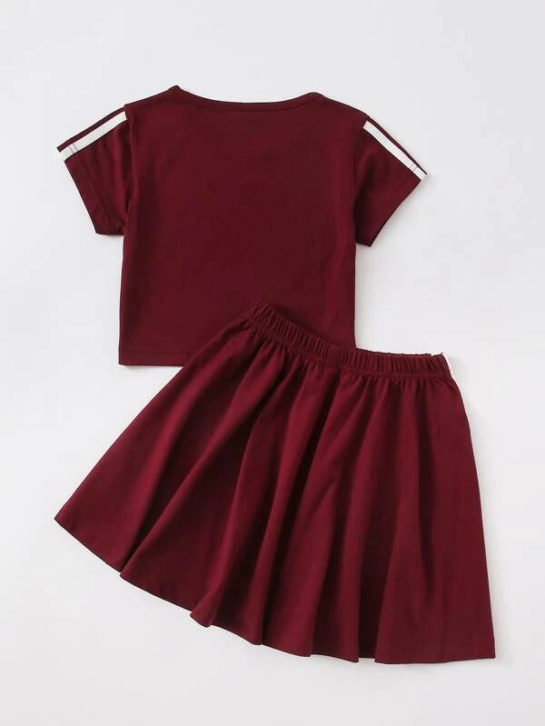 Toddler Girls Side Stripe Tee & Flared Skirt