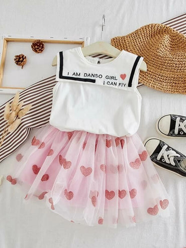 Toddler Girls Slogan Embroidery Tank Top With Tutu Skirt