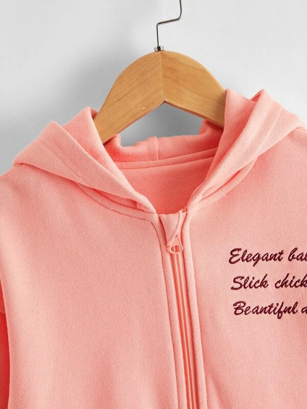 Toddler Girls Slogan Embroidery Zip Up Hoodie