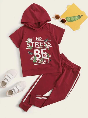 Toddler Girls Slogan Graphic Hoodie & Side Stripe Joggers