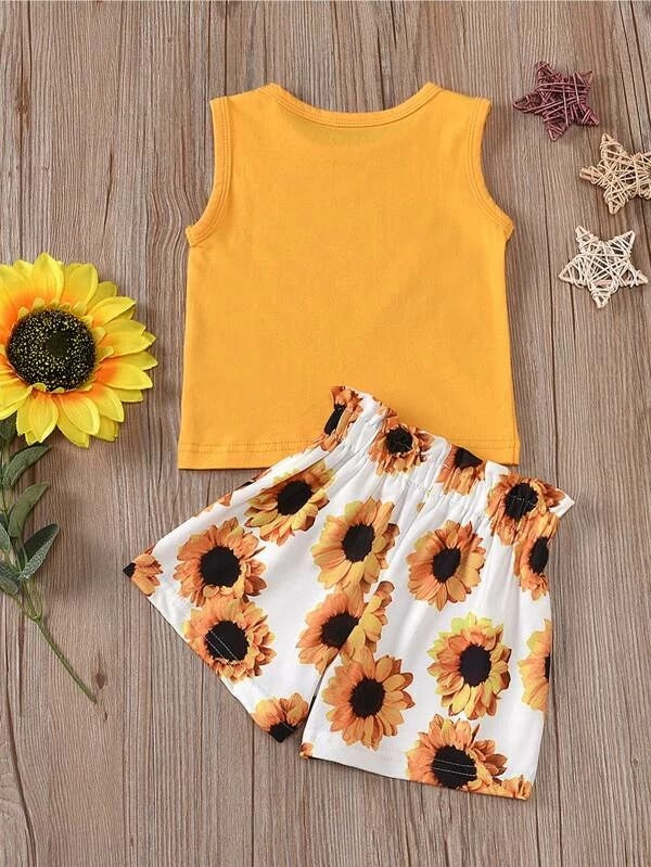 Toddler Girls Slogan Graphic Tank Top & Sunflower Shorts