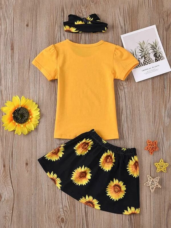 Toddler Girls Slogan Graphic Tee & Sunflower Skirt & Headband