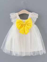 Toddler Girls Square Neck Big Bow Tulle Dress