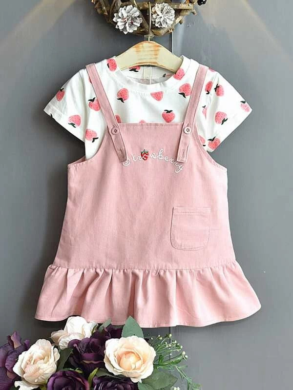 Toddler Girls Strawberry Print Tee & Embroidered Cami Dress