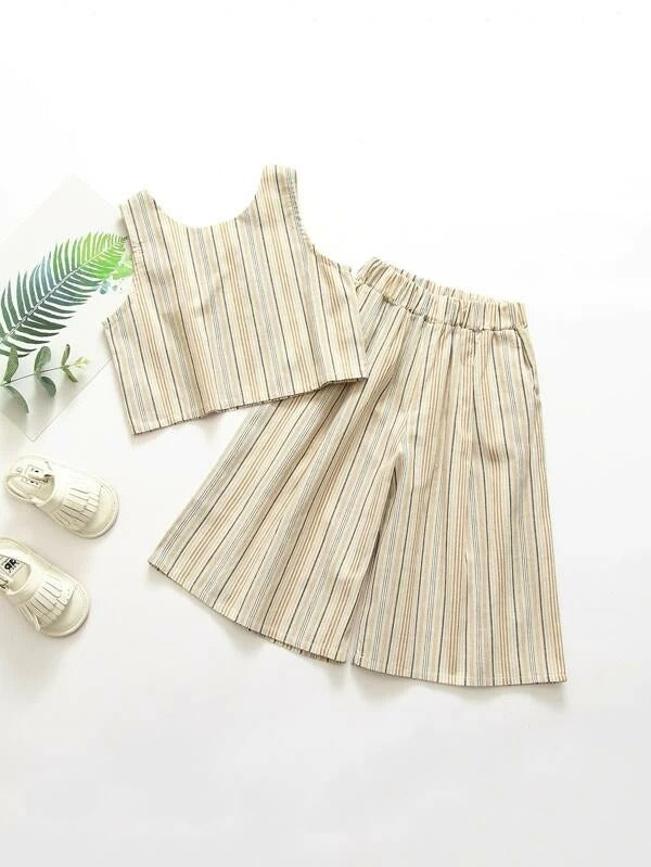 Toddler Girls Striped Criss Cross Back Tank Top & Pants
