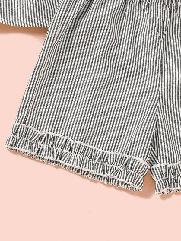 Toddler Girls Striped Frill Top With Shorts