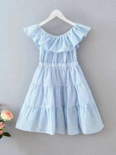 Toddler Girls Striped Ruffle Trim Tiered Layer Dress