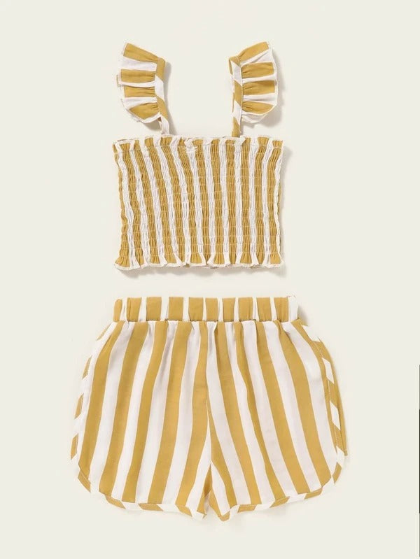 Toddler Girls Striped Shirred Ruffle Cami Top With Shorts