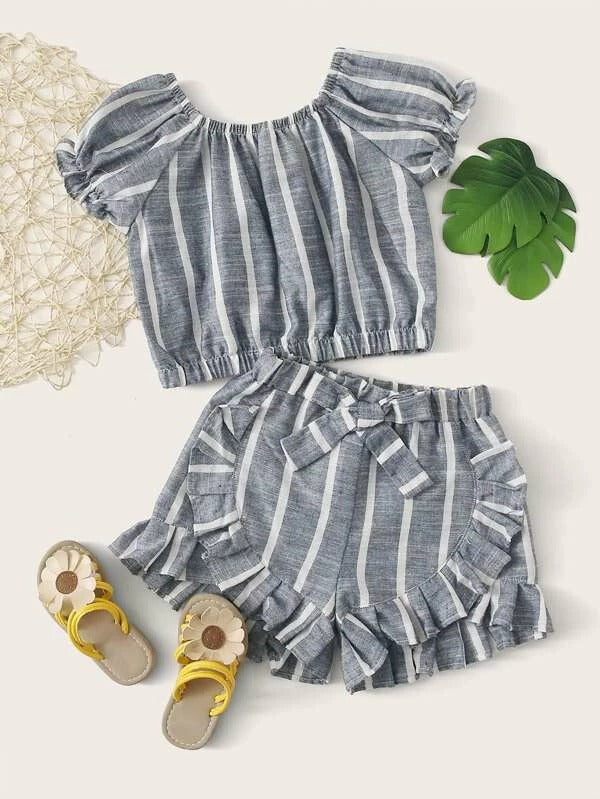 Toddler Girls Striped Top With Ruffle Shorts