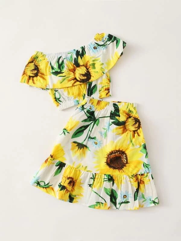 Toddler Girls Sunflower Flounce Trim Top & Skirt