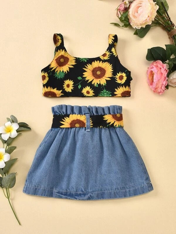 Toddler Girls Sunflower Print Cami Top & Belted Skirt