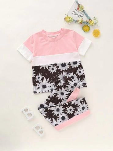 Toddler Girls Sunflower Print Color-block Tee & Pants