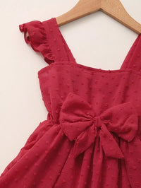 Toddler Girls Swiss Dot Ruffle Bow A-line Dress
