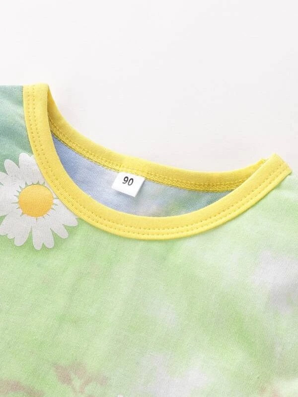 Toddler Girls Tie Dye And Daisy Floral Print Pocket Patched Tee With Pants