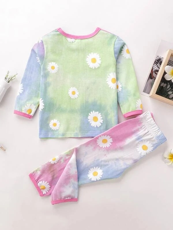Toddler Girls Tie Dye And Daisy Floral Print Tee With Pants